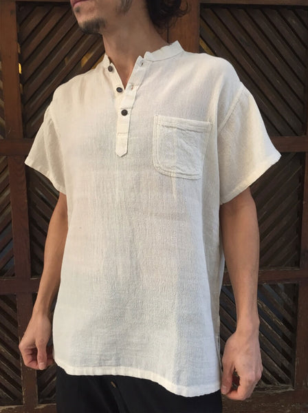 Short Sleeve Raw Cotton Shirt with Coconut Buttons