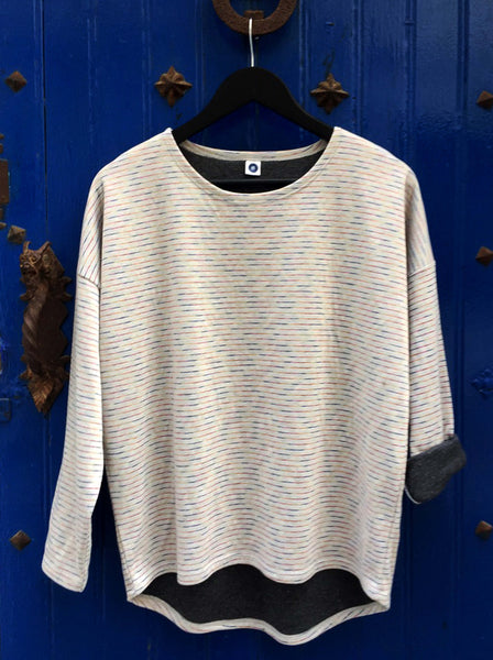 Soft Sweater Top with striped pattern