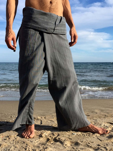 Thai Fisherman Pants Grey Pinstripe