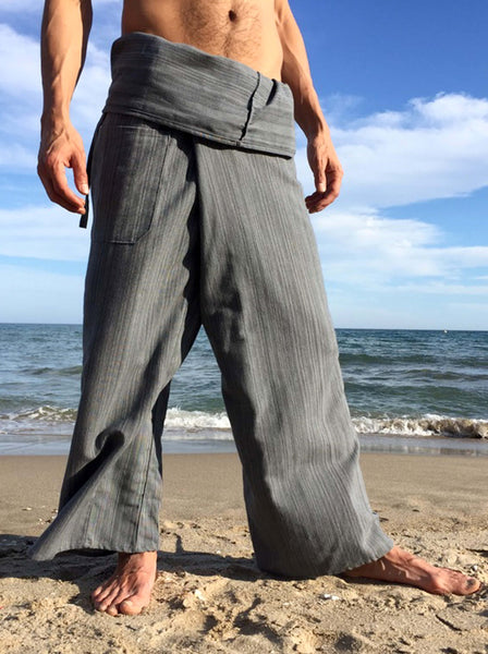 Thai Fisherman Pants Gray Pinstripe