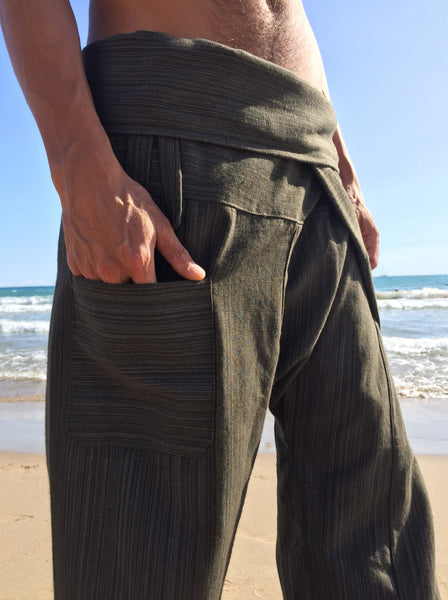 Thai Fisherman Pants Olive Green Pinstripe