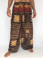 Tribal Brown Drawstring Pants with Thai Handwoven Cotton Trim