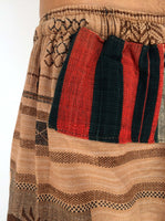 Tribal Camel Drawstring Pants with Thai Handwoven Cotton Trim