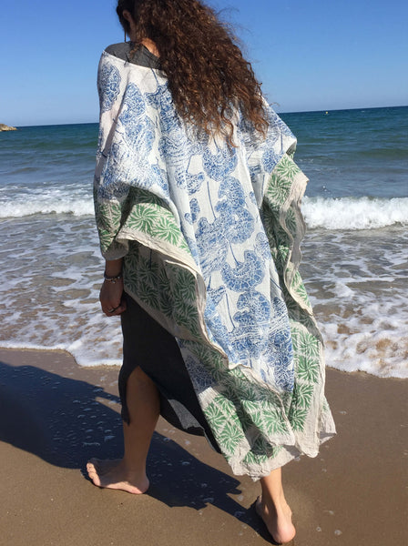 Wood Block Print Kaftan Floral Pattern