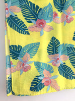 Yellow Palm Print Kaftan Dress