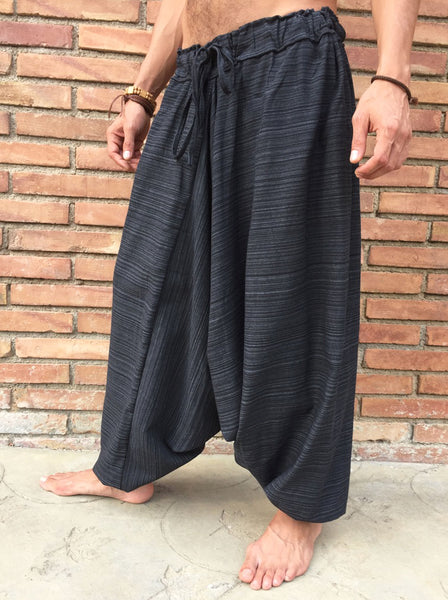 Drawstring Pants Extreme Low Cut Cotton Pinstripe Black