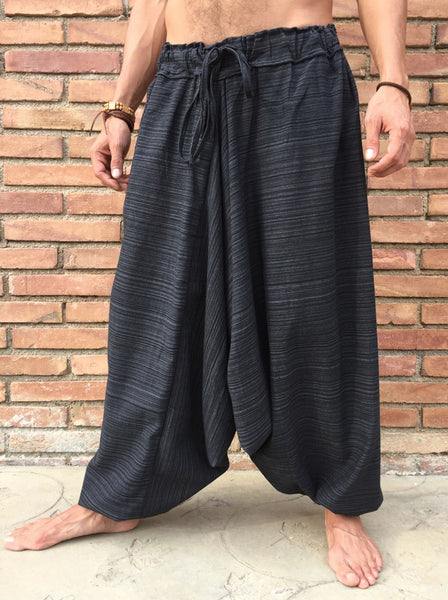 Pinstripe Boho Pants Black - Seconds