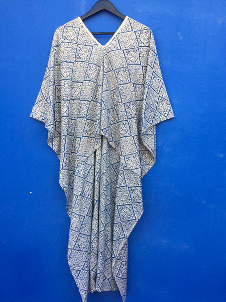 Indigo Batik Print Kaftan Dress