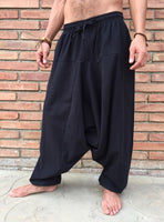Harem Pants Cotton with Pockets Black