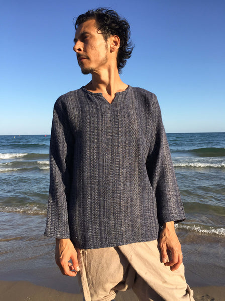 Raw Cotton Kurta in Mottled Indigo Blue