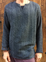 Hand Woven Long Sleeve Kurta Top Dark Grey