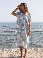 Palm Print Kaftan Dress