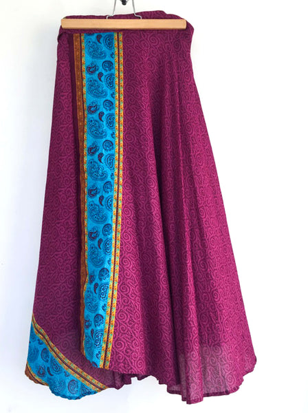 Dark Fuchsia Wrap Skirt with Paisley Pattern