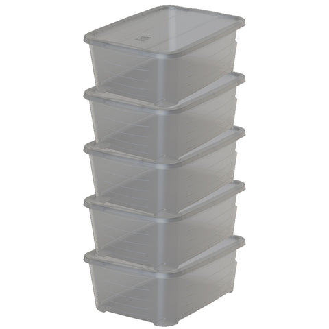 Pack of 5 - Clear Box Storage - 11L - Smoky Design