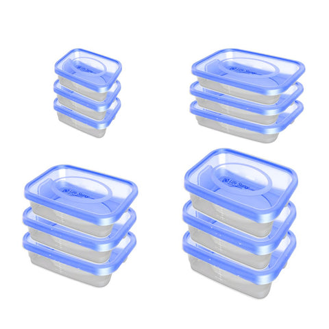 Food Plastic Container - Gold Keeper -  BPA Free - Set Of 12 Pcs