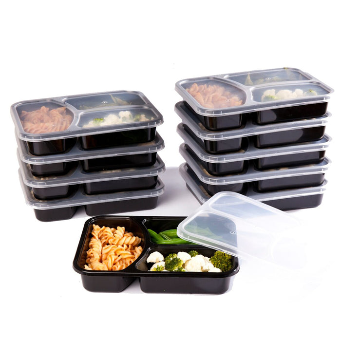 SET of 10 Black Reusable-Easy To Clean Lunch Boxes