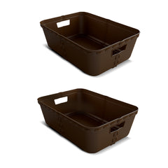Set of 2 - Large Craft Basket - Natural Design - Multi functional - Stylish At Home