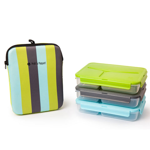 Prêt-à-Paquet Set of 3 Lunch Boxes - Blue/Grey/Green