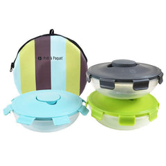 Prêt-à-Paquet Set of 3 Salad Lunch Boxes - Greem/Blue/Black