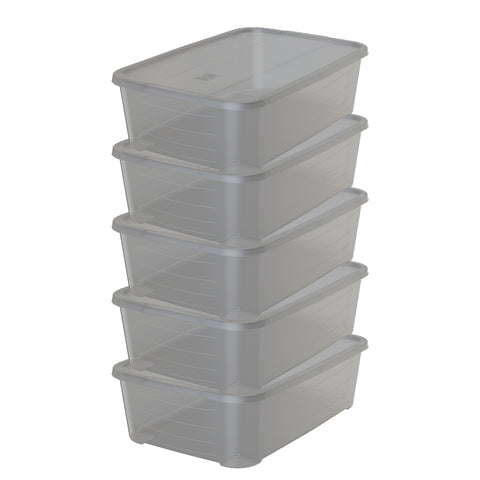 Pack of 5 - Clear Box Storage - 30L - Smoky Design