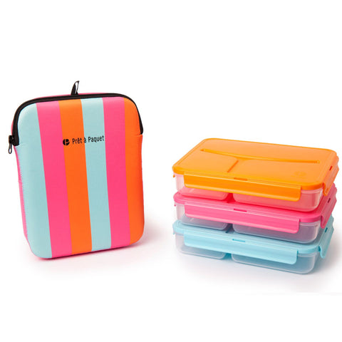 Set of 3 Lunch Boxes Leak-Proof & Thermo-Sleeve By Prêt-à-Paquet