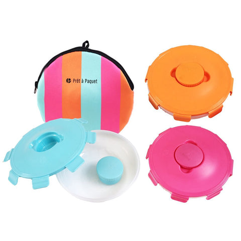Prêt-à-Paquet Set of 3 Salad Lunch Boxes - Pink/Blue/Orange