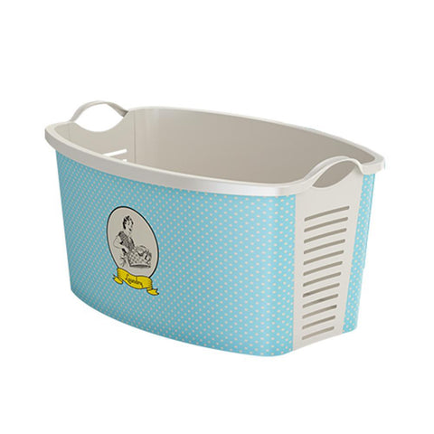 Laundry Basket Blue Vintage Woman 42L + 4 FREE Lunchboxes Included
