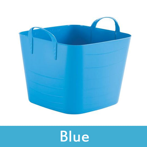 blue plastic storage boxes with lids