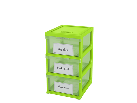 Write n' Wipe - Plastic Storage Drawers - 3 Compartments With Erase Marker