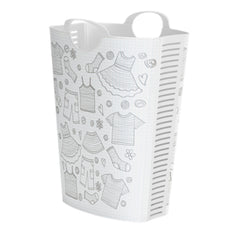 Laundry Hamper White Clothes Design 58L + 4 FREE Lunchboxes Included