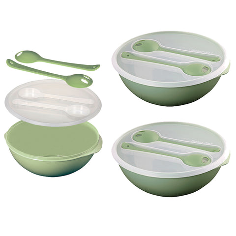 Set of 2 - Salad Bowl Set For Lunch - Fruit Bowl Set - Cutlery Included - BPA Free - Green