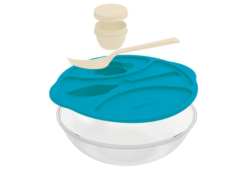 Set of 3 - Salad Time - Practical Salad Box - Fork & Sauce On The Side - Smart Storage For Your Salad - Blue