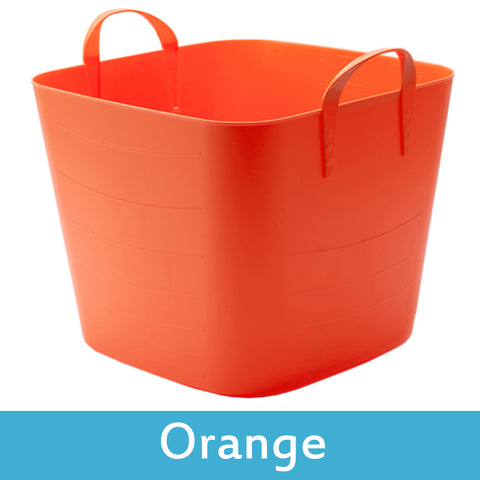 orange plastic storage boxes with lids