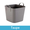 Image of taupe plastic storage boxes with lids