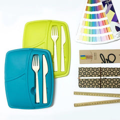 Pack of 3 -  Lunch Break - Plastic Cutlery Included - Stylish & Practical to Eat at Work - Green