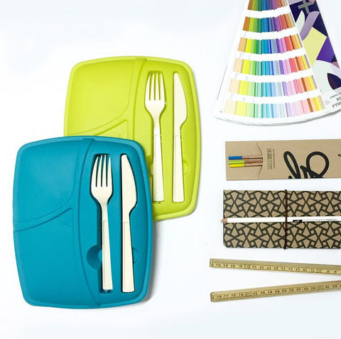 Pack of 3 - Lunch Break - Plastic Cutlery Included - Trendy & Easy to Eat Outside - Blue