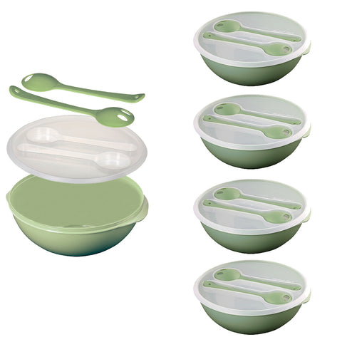 Set of 4 - Salad Bowl Set For Lunch - Fruit Bowl Set - Cutlery Included - BPA Free - Green
