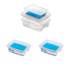 Pack of 2 - Lunch Boxes With Ice Pack Inside  - 1.9L -  Be Stylish & Efficient At The Same Time