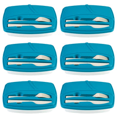 Pack of 6 - Lunch Break - Plastic Cutlery Included - Stylish & Practical to Eat at Work - Blue