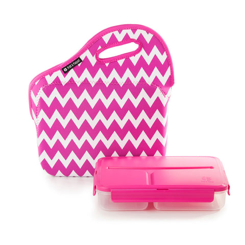 Pret A Paquet Lunchbox With Handle - Pink & White
