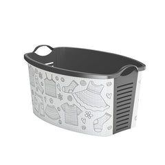 "White Laundry Basket ""Clothes Sketch"" laundry bin"