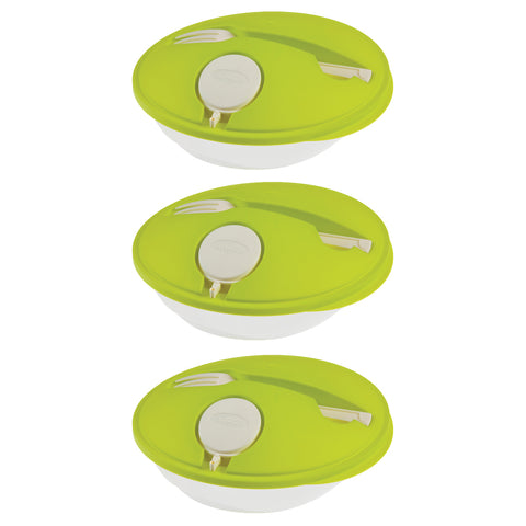 Set of 3 - Salad Break - Genius Salad Boxes - Stylish & Convenient To Eat Outside - Green