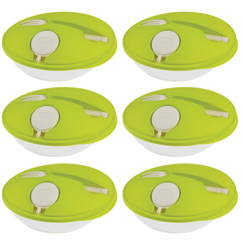 Set of 6 - Salad Break - Genius Salad Boxes - Stylish & Convenient To Eat Outside - Green