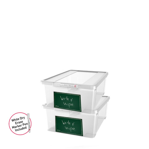 Write n' Wipe - Plastic Storage Box With Erase marker - 11L - Pack of 2