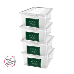 Write n' Wipe - Plastic Storage Box With Erase marker - 11L - Pack of 4