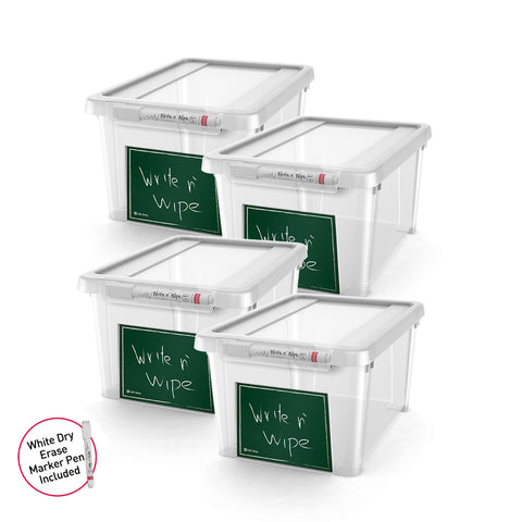 Write n' Wipe - Plastic Storage Box With Erase marker - 5L - Pack of 4