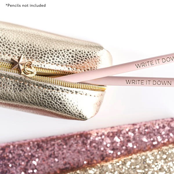 ALL THAT GLITTERS Pencil Case - Light Gold Metallic