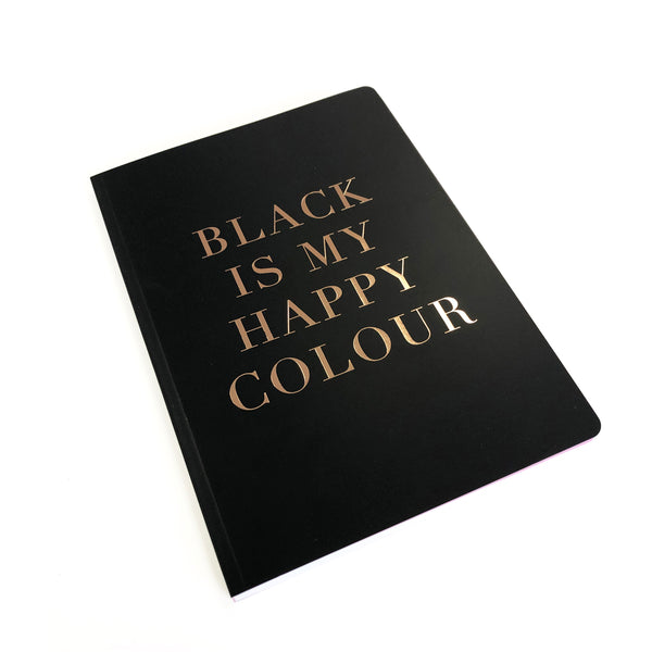 SLOGAN A5 Notebook - Black is my happy colour