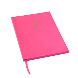 MONOGRAM A5 RULED FOILED NOTEBOOK - CERISE PINK