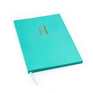 MONOGRAM A5 RULED FOILED NOTEBOOK - TEAL